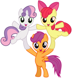 Size: 7595x8192   Tagged: safe, artist:thatguy1945, apple bloom, scootaloo, sweetie belle, earth pony, pegasus, pony, unicorn, flight to the finish, absurd resolution, belly, bipedal, cutie mark crusaders, female, filly, foal, pony pyramid, simple background, transparent background, trio, vector