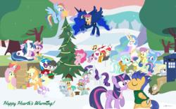 Size: 1280x800 | Tagged: safe, artist:dm29, apple bloom, applejack, babs seed, big macintosh, bon bon, derpy hooves, diamond tiara, dj pon-3, doctor whooves, flash sentry, fluttershy, lyra heartstrings, octavia melody, parasol, pinkie pie, princess cadance, princess celestia, princess luna, rainbow dash, rarity, scootaloo, shining armor, silver spoon, snails, snips, spike, sweetie belle, sweetie drops, time turner, trixie, twilight sparkle, vinyl scratch, alicorn, dragon, earth pony, pegasus, pony, unicorn, adorababs, adorabon, baby, baby dragon, christmas, cute, cutedance, cutie mark crusaders, diamondbetes, diasentres, diasnails, diasnips, doctor who, doctorbetes, female, filly, flashlight, fluttermac, foal, hat, holiday, hug, kissing, lyrabetes, macabetes, male, mane seven, mane six, mare, santa hat, scootalove, scootaluna, shining adorable, shipping, silverbetes, snow, sparity, straight, tardis, tavibetes, the doctor, twilight sparkle (alicorn), vinylbetes, wingless spike