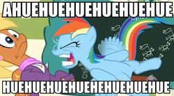 Size: 960x531   Tagged: safe, screencap, ms. harshwhinny, rainbow dash, flight to the finish, caption, eyes closed, faic, flapping, frown, hue, huehuehue, image macro, open mouth, smiling, wat, wide eyes