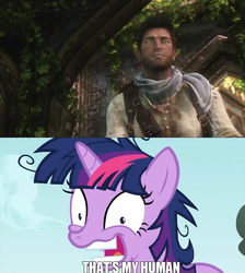 Size: 1280x1428 | Tagged: safe, twilight sparkle, nathan drake, that's my x, twilight snapple, uncharted