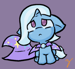 Size: 588x540 | Tagged: safe, artist:zutcha, trixie, pony, unicorn, :<, cape, clothes, cute, diatrixes, female, filly, filly trixie, floppy ears, hat, looking up, mare, sad, sitting, solo, trixie's cape, trixie's hat, younger