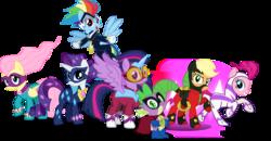 Size: 5259x2732 | Tagged: safe, artist:vector-brony, applejack, fili-second, fluttershy, humdrum, masked matter-horn, mistress marevelous, pinkie pie, radiance, rainbow dash, rarity, saddle rager, spike, twilight sparkle, zapp, alicorn, pony, power ponies (episode), female, mane seven, mane six, mare, power ponies, twilight sparkle (alicorn)