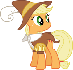 Size: 6000x5800 | Tagged: safe, artist:90sigma, applejack, smart cookie, hearth's warming eve (episode), absurd resolution, clothes, costume, female, hearth's warming eve, looking back, simple background, solo, transparent background, vector