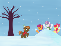 Size: 3000x2250 | Tagged: safe, artist:rad-girl, apple bloom, button mash, scootaloo, sweetie belle, clothes, cutie mark crusaders, scarf, snow, snowball fight, snowfall