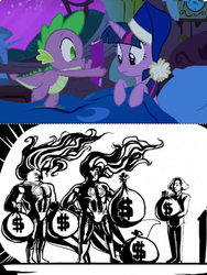 Size: 531x708 | Tagged: alicorn, bag, bed, blanket, book, cap, comic, comic book, comic book meme, dollar sign, female, hat, human, jontron, mare, money, moneybags, nightcap, nightshade: the claws of heugh, pony, power ponies, power ponies (episode), safe, spike, spike's comic, twilight sparkle, twilight sparkle (alicorn)