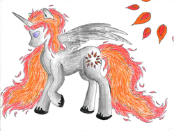 Size: 2220x1676 | Tagged: alicorn, alicorn oc, artist:hydrowarp14, oc, oc only, pony, princess fuego, safe, solo, traditional art