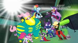Size: 849x468 | Tagged: safe, applejack, fili-second, fluttershy, humdrum, masked matter-horn, mistress marevelous, pinkie pie, radiance, rainbow dash, rarity, saddle rager, spike, twilight sparkle, zapp, alicorn, pony, power ponies (episode), female, flutterhulk, heroic posing, mane seven, mane six, mare, power ponies, twilight sparkle (alicorn)