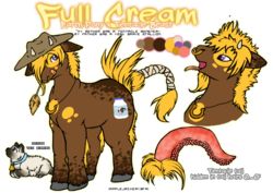 Size: 706x500 | Tagged: safe, artist:striped-tie, oc, oc only, cat, hybrid, beast, full cream, horns, monster, necklace, nose ring, reference sheet, tentacles, wheat
