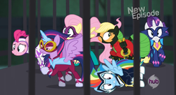 Size: 834x453 | Tagged: safe, applejack, fili-second, fluttershy, masked matter-horn, mistress marevelous, pinkie pie, radiance, rainbow dash, rarity, saddle rager, twilight sparkle, zapp, alicorn, pony, power ponies (episode), cage, female, frozen, hairspray ray of doom, mare, power ponies, stuck, twilight sparkle (alicorn)