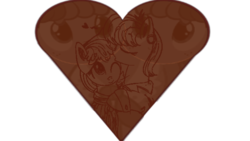 Size: 640x360 | Tagged: safe, artist:notsofrequentuser, artist:xioade, edit, chickadee, ms. harshwhinny, ms. peachbottom, chocolate, christmas, cookie, female, harshbottom, heart, kissing, lesbian, love, shipping