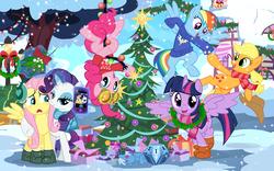 Size: 1278x800 | Tagged: safe, artist:pixelkitties, applejack, fluttershy, pinkie pie, rainbow dash, rarity, trixie, twilight sparkle, alicorn, pony, princess twilight sparkle (episode), boots, christmas, christmas tree, clothes, earmuffs, female, flarity, holiday, lesbian, mane six, mare, mistletoe, mystery box of plot importance, phone, pinkie spy, plushie, scarf, shipping, show accurate, smartphone, sweater, tree, twilight sparkle (alicorn)