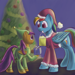 Size: 1500x1500 | Tagged: safe, artist:popprocks, rainbow dash, scootaloo, clothes, hat, santa costume, santa hat, scootalove