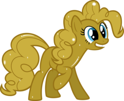 Size: 992x806 | Tagged: artist:mrcbleck, covered, golden pie, luster dust, luster dust-ified, pinkie pie, safe, simple background, solo, transparent background, vector