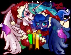 Size: 1400x1100   Tagged: safe, artist:renokim, princess celestia, princess luna, christmas, clothes, cute, cutelestia, hat, lunabetes, present, santa hat, scarf