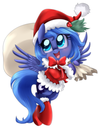 Size: 3101x3991 | Tagged: absurd res, artist:pridark, blushing, boots, christmas, clothes, coat, colored pupils, cute, filly, flying, hat, holly, hoof boots, hoof hold, looking up, lunabetes, open mouth, pridark is trying to murder us, princess luna, sack, safe, santa costume, santa hat, santa sack, simple background, smiling, socks, solo, spread wings, transparent background, woona