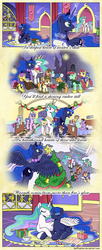 Size: 1200x2942 | Tagged: safe, artist:muffinshire, princess celestia, princess luna, tag-a-long, oc, boots, caroling, clothes, comic, filly guides, glasses, hearth's warming, hospital, muffinshire is trying to murder us, scarf, thin mint