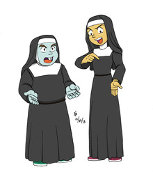 Size: 2541x2885 | Tagged: artist:mayorlight, colored skin, crossdressing, equestria girls, habit, humanized, nun, nuns on the run, parody, safe, snails, snips