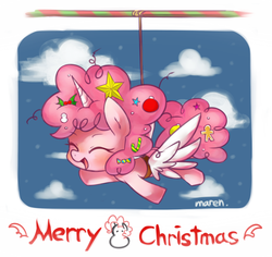 Size: 1269x1196 | Tagged: safe, artist:maren, pinkie pie, alicorn, alicorn party, alicornified, christmas, cute, diapinkes, flying, pinkiecorn, race swap, solo, wings, xk-class end-of-the-world scenario