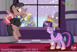 Size: 1010x681 | Tagged: safe, artist:bluemk, twilight sparkle, oc, alicorn, pony, canon x oc, christmas, clothes, female, floppy ears, flying, grin, hearth's warming eve, magic, mare, raised hoof, scarf, shipping, smiling, telekinesis, twilight sparkle (alicorn), wink