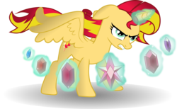 Size: 4877x3000 | Tagged: safe, artist:theshadowstone, sunset shimmer, alicorn, pony, absurd resolution, alicornified, element of generosity, element of honesty, element of kindness, element of laughter, element of loyalty, element of magic, elements of harmony, female, magic, race swap, shimmercorn, simple background, solo, transparent background, vector
