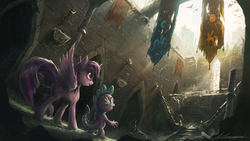 Size: 1920x1080 | Tagged: safe, artist:huussii, spike, twilight sparkle, alicorn, pony, castle, castle of the royal pony sisters, crepuscular rays, dark, detailed, epic, female, mare, ruins, scenery, scenery porn, twilight sparkle (alicorn), wallpaper
