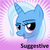 Size: 250x250   Tagged: safe, trixie, pony, unicorn, derpibooru, bedroom eyes, blushing, female, mare, meta, meta:suggestive, official spoiler image, open mouth, smiling, solo, spoilered image joke