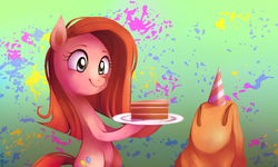 Size: 1800x1080 | Tagged: safe, artist:karzahnii, madame leflour, pinkie pie, party of one, cake, cute, cuteamena, diapinkes, pinkamena diane pie, scene interpretation