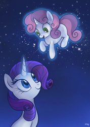 Size: 462x648   Tagged: safe, artist:mn27, rarity, sweetie belle, pony, unicorn, female, filly, levitation, night, sisters, stars