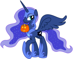 Size: 8001x6417 | Tagged: safe, artist:drawponies, artist:kysss90, nightmare moon, princess luna, absurd resolution, armor, candy, clothes, costume, female, horseshoes, jack-o-lantern, looking at you, mouth hold, nightmare luna, nightmare night, pumpkin bucket, simple background, smiling, solo, spread wings, standing, transparent background