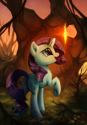 Size: 753x1081 | Tagged: safe, artist:hioshiru, rarity, pony, unicorn, chest fluff, cute, dirty, ear fluff, eyes on the prize, featured image, female, fluffy, glow, looking at something, looking up, mare, nature, open mouth, plot, raised hoof, raised leg, raribetes, scenery, shooting star, smiling, solo, stars, sweet dreams fuel, tree, underhoof