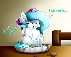 Size: 1280x1024   Tagged: safe, artist:colarix, oc, oc only, oc:colarix, bow, chest fluff, cupcake, cute, eating, female, filly, foal, food, grin, happy, ribbon, shoulder fluff, smiling, solo