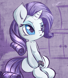 Size: 656x754 | Tagged: safe, artist:kyodashiro, rarity, pony, :t, annoyed, atryl-ish, bedroom eyes, controller, cute, female, gamer rarity, gaming, pouting, raribetes, rarigamer, simple background, sitting, solo, style emulation, video game