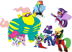 Size: 8307x6000 | Tagged: safe, artist:gamemasterluna, applejack, fili-second, fluttershy, humdrum, masked matter-horn, mistress marevelous, pinkie pie, radiance, rainbow dash, rarity, saddle rager, spike, twilight sparkle, zapp, alicorn, pony, power ponies (episode), absurd resolution, cape, clothes, costume, female, flutterhulk, goggles, mane seven, mane six, mare, mask, power ponies, simple background, transparent background, twilight sparkle (alicorn), vector