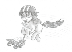 Size: 1024x737   Tagged: safe, artist:inurantchan, scootaloo, female, helmet, monochrome, scooter, solo, traditional art