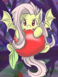 Size: 300x400 | Tagged: safe, artist:sugarbuzzstudio, fluttershy, bat pony, pony, bats!, apple, biting, cute, fangs, female, flutterbat, race swap, shyabates, shyabetes, solo