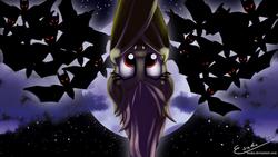 Size: 2000x1125   Tagged: safe, artist:esuka, fluttershy, bat, bat pony, pony, vampire fruit bat, bats!, cute, fangs, flutterbat, moon, night, race swap, shyabates, stars, upside down