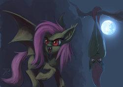 Size: 1024x724   Tagged: safe, artist:raikoh, fluttershy, bat pony, pony, bats!, fangs, female, flutterbat, hanging, moon, night, race swap, solo, tree branch, upside down