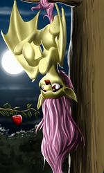 Size: 1500x2500 | Tagged: safe, artist:mykegreywolf, fluttershy, bat pony, pony, bats!, apple, female, flutterbat, hanging, hanging upside down, moon, prehensile tail, race swap, solo, spread wings, tree, wings