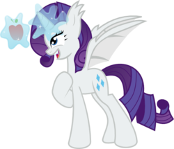 Size: 535x460 | Tagged: safe, artist:the-doctor-kami, rarity, alicorn, bat pony, bat pony alicorn, pony, apple, bat ponified, female, hilarious in hindsight, magic, mare, race swap, raribat, raricorn, simple background, solo, telekinesis, transparent background, vector