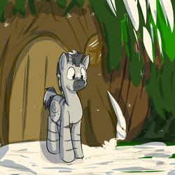 Size: 1280x1280 | Tagged: safe, artist:fuzebox, zecora, zebra, confused, rule 63, snow, snowfall, snowflake, solo, winter, zecora's hut, zircon