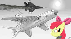 Size: 2650x1440 | Tagged: dead source, safe, artist:pak-faace1234, apple bloom, colored, cutie mark crusaders, fighter, missile, monochrome, plane, su-27, xf8u-iii super crusader