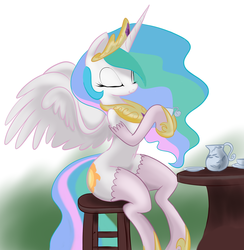 Size: 2493x2554 | Tagged: artist:34657830, princess celestia, safe, sitting, solo, stockings, table, tea, teacup
