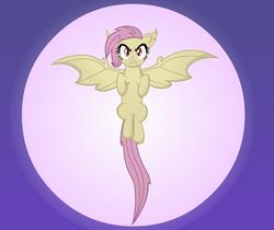 Size: 2639x2222   Tagged: safe, artist:negasun, fluttershy, bat pony, pony, bats!, fangs, female, flutterbat, moon, race swap, solo