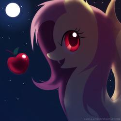 Size: 2222x2222   Tagged: safe, artist:jacky-bunny, fluttershy, bat pony, pony, bats!, apple, fangs, female, flutterbat, moon, night, race swap, solo, stars