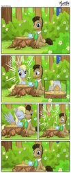 Size: 1100x2640   Tagged: safe, artist:mysticalpha, derpy hooves, doctor whooves, time turner, pegasus, pony, comic, cup, doctor who, doctorderpy, drink, female, food, licking, male, mare, muffin, shipping, straight, table, tardis, the doctor, tongue out, tree stump