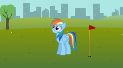 Size: 571x317   Tagged: safe, artist:agrol, rainbow dash, everypony plays sports games, golf, hole, solo, youtube link