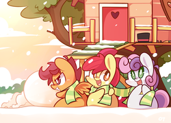 Size: 1400x1000   Tagged: safe, artist:php56, apple bloom, scootaloo, sweetie belle, :d, chibi, clothes, clubhouse, crusaders clubhouse, cute, cutie mark crusaders, grin, happy, scarf, shared clothing, shared scarf, smiling, snow, snowfall, winter
