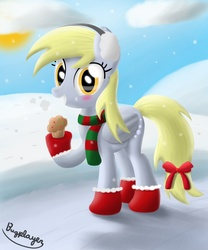 Size: 1000x1200   Tagged: safe, artist:bugplayer, derpy hooves, pegasus, pony, blushing, boots, bow, clothes, cloud, cloudy, earmuffs, female, happy, mare, muffin, scarf, shoes, smiling, snow, snowfall, socks, solo, stockings, winter