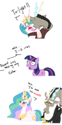 Size: 861x1716 | Tagged: safe, artist:mechathefox, discord, princess celestia, twilight sparkle, blushing, caught, clothes, comic, dialogue, dislestia, female, male, shipping, straight, suit, surprised