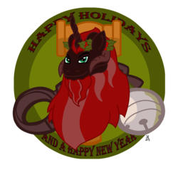 Size: 3715x3546 | Tagged: safe, artist:tricornking, oc, oc only, oc:king krampus, bell, chains, crown of holly, cutie mark, gavel, hammer, high res, holly, king krampus, krampus, the lord of aldheim, tricorn, wreath